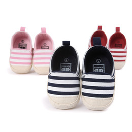 Wholesale Girl Classic Shoes - Kids Shoes Baby Shoes Infant Newborn Boys Girls Shoes Classic Striped Soft Soled Baby Shoe Soft Bottom Baby First Walkers Free Shipping 002