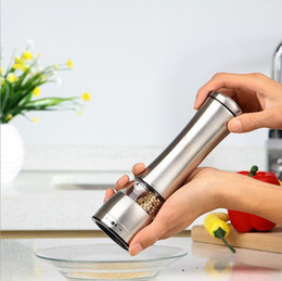 Wholesale Manual Tools - Manual Pepper Mill Salt And Pepper The Grinder Kitchen Tools 1 piece Silver Stainless Steel And Clear Acrylic Construction 20 PCS YYA841