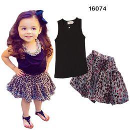 Wholesale Leopard Skirt Suits - 2016 Girl Leopard bowknot dot dress suits Summer Chiffon cotton Sleeveless T-shirt Short + leopard skirt dress suit baby clothes FREE DHL
