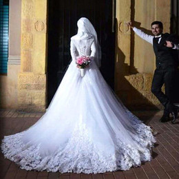 Wholesale Scarves Wedding Dresses - Fashion Fall Winter New Long Sleeves Wedding Dresses with Scarf Romantic Lace Lace Up Muslim Wedding A Line Bride Formal Dresses 2016