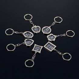Wholesale Car Shape Keychains - Mini Photo Frame Plum Blossom Round Heart Apple Oval Rhombus Shape Metal Alloy Keychain Key Chain Keyring Car Keychains Couples Keyring