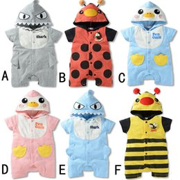 Wholesale Infant Boy Cardigans - RMY22 NEW 6 Designs infant Kids Anmials Print Cotton Cardigan Romper High Quality baby Climb clothing boy girls Romper Summer Romper