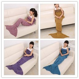 Wholesale Condition Yellow - 6 Colors 140x70cm Children Fashion Knitted Mermaid Tail Blankets Kids Soft Warmer Blanket Sofa Sleeping Blankets Air Conditioning Blanket
