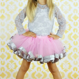 Wholesale Fluffy Skirts - Voilet Fluffy Little Baby Girl Skirt With Satin Ribbon Trim Sewn Puffy Baby Tutu Skirt for 0-7 years old Free Shipping