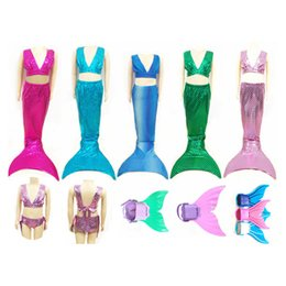 Wholesale Children S Suit Dress - Children Kids Swimmable Mermaid Tails Swimming Costumes Dress Cosplay Costume for Girl Fancy Dress Swimsuit Swimming Suit 3PCS 2506039