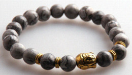 Wholesale Semi Precious Stone Gold Jewelry - Hot Sale Jewelry Natural Picture Gray Semi Precious Stone Beads Antique Gold   Silver Buddha Bracelets