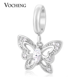 Wholesale Gold Plated Butterfly - VOCHENG Endless Charms 3 Colors Bracelet Charm Inlaid CZ Stone Brass Material Non-fading Butterfly Interchangeable Jewelry VC-146