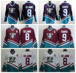 Anaheim Ducks Hockey Maglie 8 Teemu Selanne 9 Paul Kariya Vintage Jersey Mighty Ducks Movie Green 1993 Viola 96 Charlie Conway da