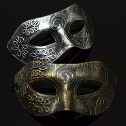 Wholesale Black Venetian Masks Mens - Retro Men halloween Burnished Antique Silver Gold Venetian Mardi Gras Masquerade Party Ball Mask Jazz Mens Mask Halloween Masquerade Masks