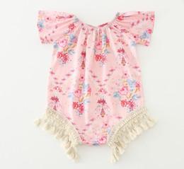 Wholesale Girls Vintage Romper - Baby Girl Summer Romper Floral Kids Sleeveless Romper Vintage Organic Lovey Tassels Baby Romper 5 p L