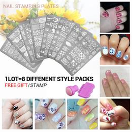 Wholesale Nail Polish Beauty Tips - Wholesale- 8pcs Nail Stencils set 3 Nail Art Image Printing Beauty Designs Women Tips Nails Stamping Plates Nail Art Polish Templates