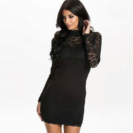 Wholesale Sexy Hip Tube - 2016 Autumn Slim Hip Women Sexy Backless Hollow Out Tube Top Long-sleeve Black Lace Nightclub Party Dresses Europe And America