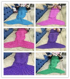 Wholesale Microfiber Blanket Soft - High Quality Mermaid Tail Blanket Super Soft Hand Crocheted cartoon Sofa Blanket air-condition blanket siesta blanket 180X90cm