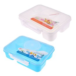 Wholesale Ordering Food - Hot Sale Portable 22*17*6cm Microwave Bento Lunch Box 5 and 1 Food Container Storage Box Bento Box Food Container with Spoon order<$18no tra
