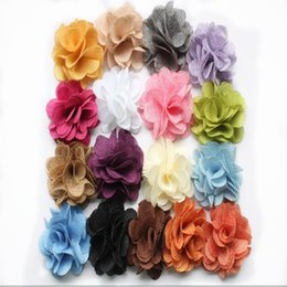 Wholesale Chic Baby Clothes - 3'' Burlap Fabric rose petal flower chic scallop Flower applique hair accessories, baby headband flower baby foot flower, clothes collar DIY