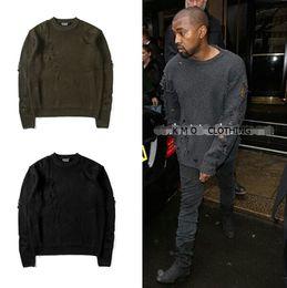 Wholesale Oversized Dress Shirt Fashion - streetwear winter fashion kanye west M-2XL black green pullover shirt men clothing ripped oversized sweater dress sweaters