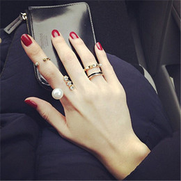 Wholesale Wholesale Midi Ring - Fashion Womens Rings Crystal Pearl Cute Knuckle Ring Midi Stack Jewelry Party Gold Silver Band Rings Jewellry Open Finger Rings 3pcs Set