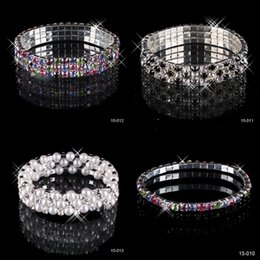 Wholesale Sales Bead - Hot Sale 3 Row Rhinestone Stretch Bangle Wedding Bracelet Bridal Jewelry 15006 Cheap High Quality Free Shipping Top Selling