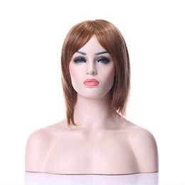Wholesale Long Straight Brown Cosplay Wig - New Arrival Hot Stylish Carved Hair 14 inches Middle Long Straight Light Brown Synthetic Hair Cosplay Wig&Party wig  Full Wigs