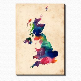 Wholesale Great Wall Decor - Watercolor Great Britain Map Painting Pictures Abstract Art Print on the Canvas,Canvas Poster Painting Prints,Wall Home Decor Map Poster