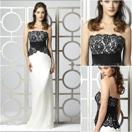 Wholesale Dessy Lace - New Arrival Black Lace White Satin Bridesmaid Dresses Strapless Full Length Waistband Dessy wholesale Junior Bridesmaid Dresses