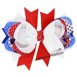 Wholesale Lace Wholesale Usa - 100pcs Patriotic USA Flag Hair Bow Clip Girls Baby Infant Toddler Children