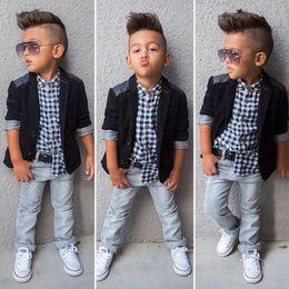 Wholesale Kids Blazers Boys - XN47 Kid Sprig Autumn Boy 3 Pieces Sets Cowboy Formal Party suits Boy Fashion Style Blazer + Plaid T shirt + Denim Pants 2T-8T
