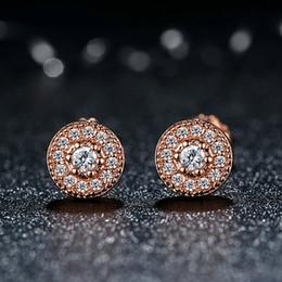 Wholesale Push Jewelry - Genuine 925 Sterling Silver Earrings Studs Radiant Elegance 14K Gold & Clear CZ Women Push-back Earrings Fine Jewelry ER044