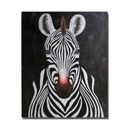 Wholesale Zebra Wall Decorations - Abstract Zebra Painting Sitting Room Decoration Hand Painted Modern Oil Painting on Canvas Decorative Wall Painting Animal Art No Framed