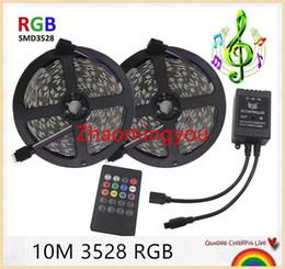 Control remoto led música control remoto online-3528 RGB LED tira de luz flexible 10M 600Leds SMD2835 60LEDs / m música IR controlador remoto DC12V, decoración del hogar LED Raya