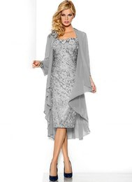 Wholesale Lace Suits For Weddings - Purple Plus Size Mother Of The Bride Dresses Lace Knee Length Long Sleeve Formal Dress For Wedding Sequins Evening Dresses