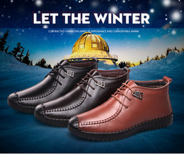 Wholesale Men S Casual Boots Shoes - The new winter cow leather Martin men 's casual boots for Korean style plus velvet cotton warm non slip breathable winter shoes