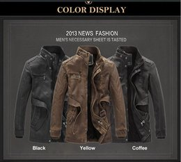 Wholesale trench coats leather sleeves - New 2016 men clothing Pu Leather jacket Winter coat motorcycle leather jackets cultivate one's morality trench coat high quality