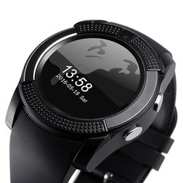Wholesale Iphone Female Usb - V8 Bluetooth 3.0 Smartwatches With IPS Round Screen USB Charger Passometer Men All Aged Smart watch For Android Apple IPhone Smartwatch