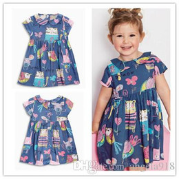 Wholesale Dolls Clothes Line - 2016 Summer Children short Sleeve Girls Doll Collar Cartoon Picture Dresses Princess Child Dresses Clothing Free shipping E1140