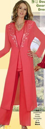 Wholesale Womens Long Jacket Suits - Exquisite Mother Of The Bride Pant Suits Coral Chiffon Wedding Party Womens Formal Evening Gowns With Long Sleeves Jacket