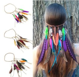 Wholesale Feather Cuffs - Boho Long Multi Feather Bead Threaded Hair Cuff Headband Hair Accessory Jewelry HJIA483