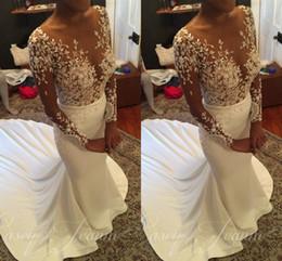 vestido de noiva de cetim Desconto Ilusão Mangas Compridas Vestidos de Casamento Da Sereia Sheer Neck Beading Apliques De Cetim Sexy Vestidos de Casamento Sweep Trem