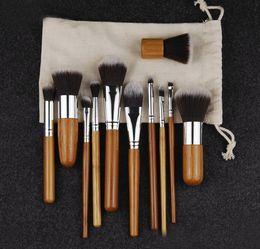 Wholesale Bamboo Drawings - 2017 Makeup Brushes Set Cosmetics Maquiagem Profissional 11 Pcs High Quality Bamboo Cosmetic Brushes Kit Brush with Draw String bag