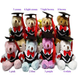 Wholesale Doll For 15 - New 12PC lot 14cm Dr. Oso Graduation Teddy Bear Plush Long Wool Bear Dolls Cartoon Stuffed Toys For Doctor Students Gifts