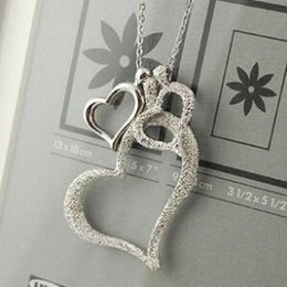Wholesale Korean jewelry frosted love three heart necklace long sweater chain female