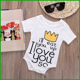 Wholesale Toddler Boy Crown - toddler baby boys girls rompers newborn children lovely letters crown print short sleeve outfit jumsuits free shiipping hot sellling