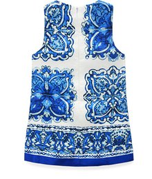 Wholesale China Blue Lace Dress Wholesale - summer dress blue and white porcelain china dress lovely party dress baby girl flower dress children clothes hot sale