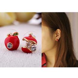 Wholesale Womens Ear Piercings - 1pair Gold Tone Womens Girls Enamel Apple Shape Piercing Earrings Ear Stud C00293 CAD