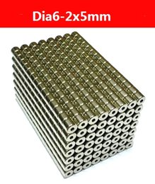 Wholesale Neodymium Magnets Holes - 50PCS Strong Rare Earth Neodymium Magnets Ring N50 dia6-2x5mm with hole dia2mm, Ni coated surface Magnetic Ring, Free Shipping