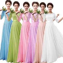 Wholesale Summer Maxi Gowns - Pink Bridesmaid Dresses Spring Lace Chiffon Sexy Long party Evening Dress Half Sleeve Elegant Women Prom Gown Bodycon Maxi Dresses