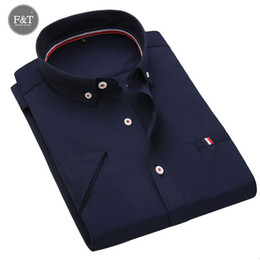 Wholesale Dress Shirt Mens Clothing - Wholesale-[Asian size] High Quality Business Casual short sleeve mens dress shirts solid business Regular-Fit Mens Shirts Designer Clothes