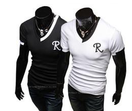 Wholesale Print Manufacturers - Men's half sleeve, short sleeve, V collar T-shirt, men's T-shirt manufacturer, R letter embroidery, self-cultivation T-shirt, summer clearan