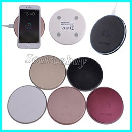 Wholesale Iphone Leather Faux - New D6 Disk Fast Charger Charging Faux Leather Pad Qi Wireless Chargers For Samsung Galaxy Note8 S8 S7 edge iphone X 8 plus