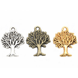 Wholesale Wholesale Pendant Charms Bronze - Life of Tree Charms Pendants Antique Silver Gold Bronze Findings For DIY Jewelry Making Bracelets Necklaces 50pcs lot